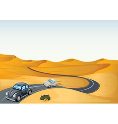 Cars in a desert vector