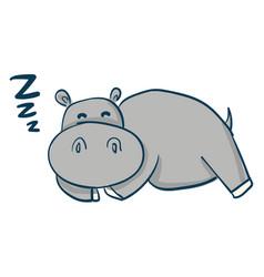 cartoon a sleeping grey hippo on white vector image