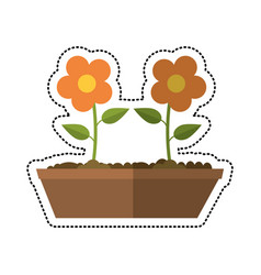 Cartoon pot flower garden image vector