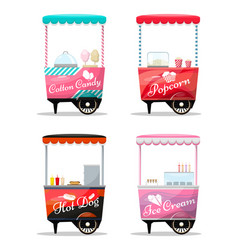 Carts set retail popcorn cotton candy hot dog vector