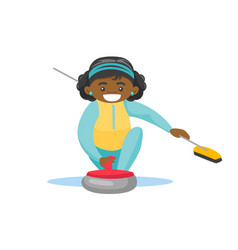 caucasian sportswoman playing curling on ice rink vector image
