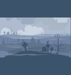 Cemetery or graveyard on a terrible night vector