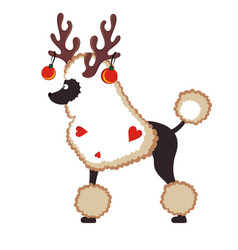 Christmas card with cute dog with horns and balls vector