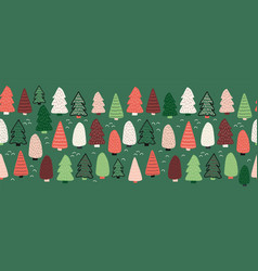 christmas trees border seamless pattern vector image