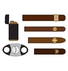 Cigar smoker set vector image