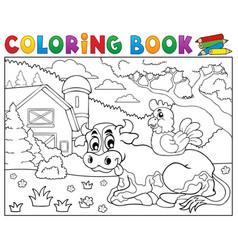 coloring book cow near farm theme 3 vector image