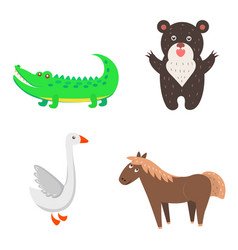 Concept of goose horse bear crocodile for kids vector