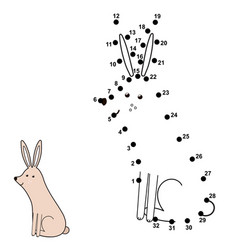 Connect the dots and draw a cute rabbit vector