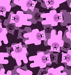 Cute bears seamless pattern Pink animals 3D vector image