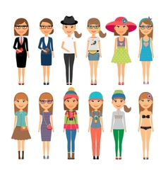 Cutie cartoon fashion girls in colorful clothes vector