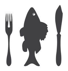 Cutlery knife fork fish vector image