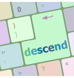 Descend button on computer pc keyboard key vector