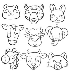 Doodle animal head hand draw vector