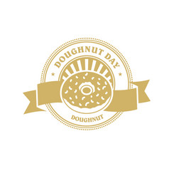 Doughnut day emblem or sticker with banner vector