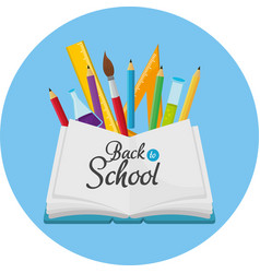 Education notebook with pencils colors and ruler vector