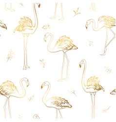 exotic tropical flamingo birds mistletoe elements vector image