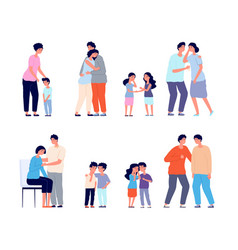 family consoled cartoon supportive friend grief vector image