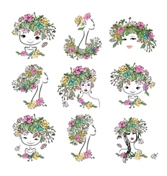 Female portrait with floral hairstyle collection vector image vector image
