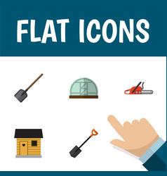 flat icon dacha set of hothouse shovel hacksaw vector image
