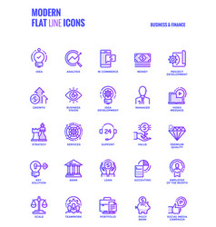 Flat line gradient icons design-business and vector