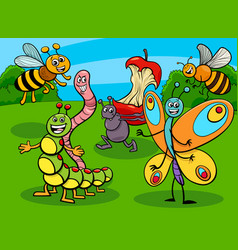funny insects and bugs cartoon characters group vector image