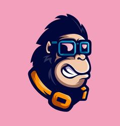 Gorilla with glasses vector