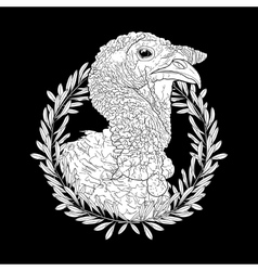 Graphic turkey head vector