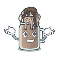 Grinning milkshake character cartoon style vector