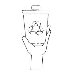 hand taking recycle bin vector image