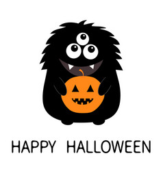 Happy halloween card black monster silhouette vector