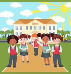 happy kids on school building background vector image