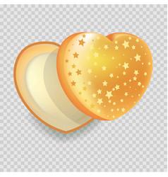 Heart-shape open gift box of shiny iridescent vector
