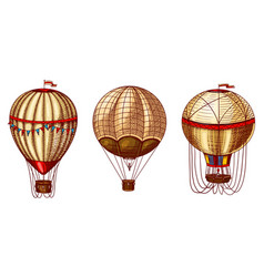 hot air balloons retro flying airships vector image