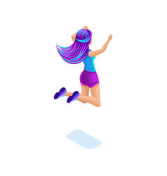 Isometric girl jumping having fun happy with vector