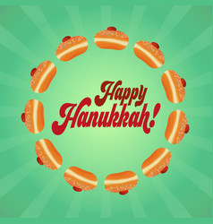 jewish holiday of hanukkah greeting card vector image