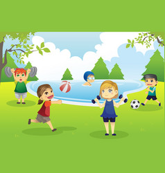 Kids exercising in park vector