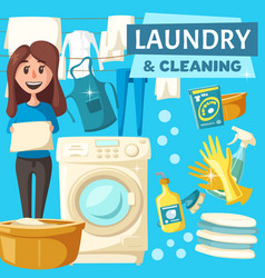 Laundry and cleaning service poster vector