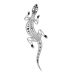 Lizard aboriginal art style monochrome isolated vector