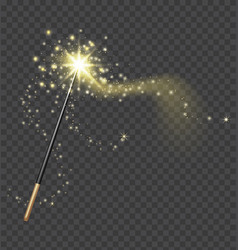 Magic wand realistic fairytale stick with golden vector