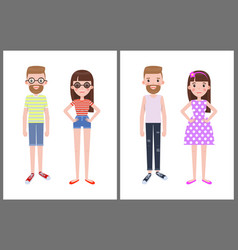 man and woman everyday apparel vector image