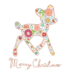Merry Christmas greeting card Colorful floral deer vector image