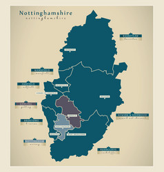 Modern map - nottinghamshire county with district vector