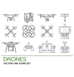 Modern thin line set with drones Quadrocopter vector image