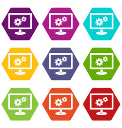 monitor settings icon set color hexahedron vector image