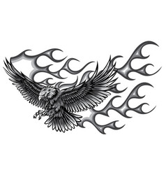 monochromatic flaming eagle - vehicle graphic vector image
