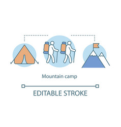 mountain hiking trekking camp concept icon summer vector image