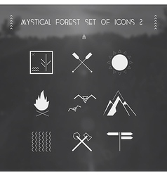 Mystical forest set of icons vector image