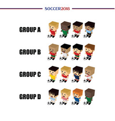 National team soccer group tournament 2018 set vector