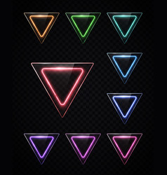 neon light color set shining rounded triangle vector image