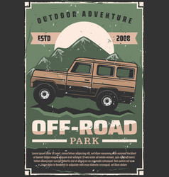 Off-road car adventure travel club retro poster vector